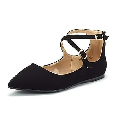 Dream Pairs Women's Sole-Strappy Black Nubuck Ankle Straps Flats Shoes - 5 M US