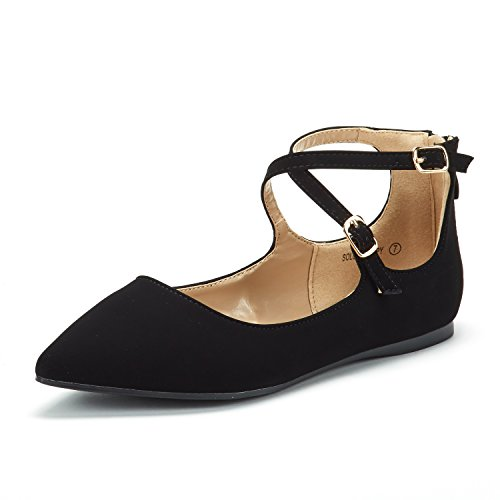 DREAM PAIRS Women's Sole-Strappy Black Nubuck Ankle Straps Flats Shoes - 11 M US