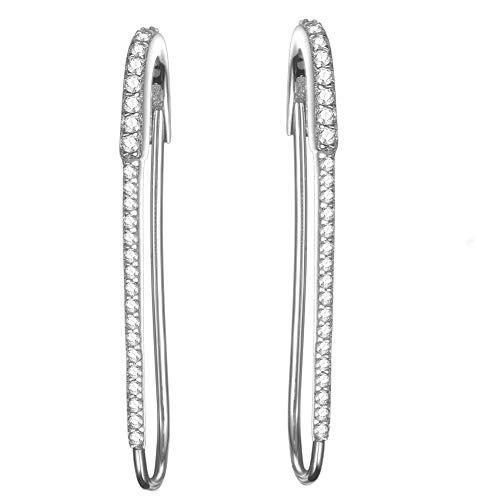 Javeny 925 Sterling Silver CZ Cubic Zirconia Safety Pin Wedding Bridal Earrings for Womens (White)