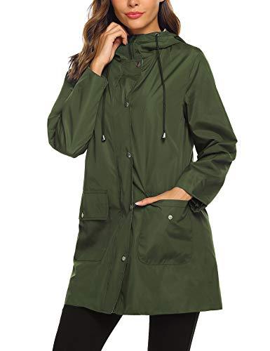 SUNAELIA Rain Jacket Women Waterproof Lightweight Hooded Raincoat Active Outdoor Windbreaker Trench Coat S-XXL (Large, Army Green)