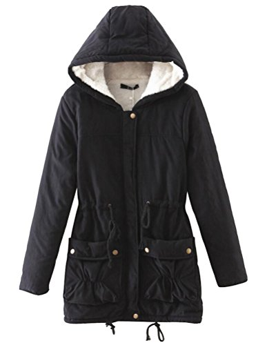 ACE SHOCK Women Plus Size Winter Coats with Hood Faux Fur Lined Parka Cotton Padded Jackets (Regular US Small, Hooded Black)