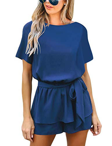 luvamia Women's Casual Royal Blue Short Sleeve Belted Overlay Keyhole Back Jumpsuits Romper Size Medium (Fits US 8 - US 10)