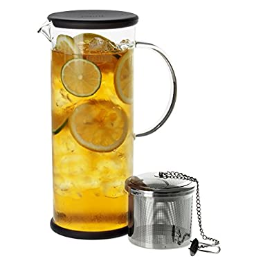 FORLIFE LUCENT Glass Iced Tea Jug with Capsule Infuser, 48-Ounce, Charcoal