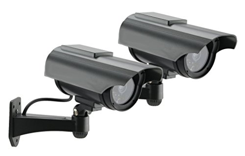 Foscam 2-pack FDS2150C Solar Powered Outdoor Dummy Camera - With Red Blinking Light - Charcoal