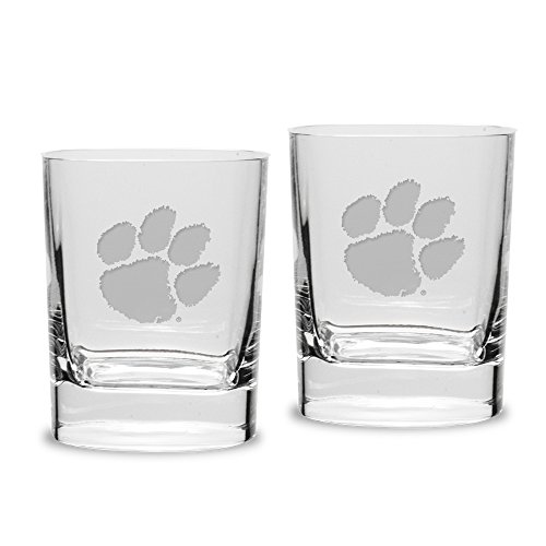 (NCAA Clemson Tigers Adult Set of 2 - 14 oz Square Double Old Fashion Glasses Deep Etched Engraved, One Size, Clear)