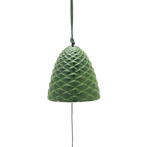 (Kotobuki Iron Japanese Wind Chime, Green Pine Cone-l)