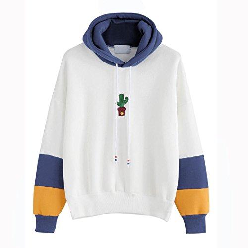 Ruhiku GW Hoodie, Womens Long Sleeve Cactus Print Hoodie Sweatshirt Hooded Pullover Tops Blouse (Blue, L)