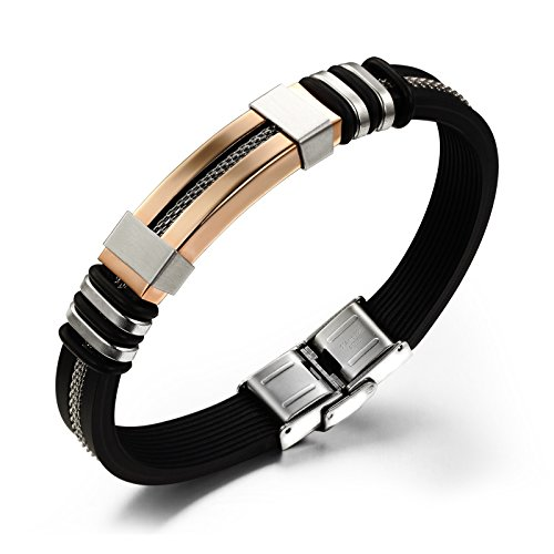 Stainless Rubber Steel Bracelets Leather (OPK Jewelry Fashion Rose Gold Geniune Silicone Bracelet for men Stainless steel Clasp,Black, 8.26 inches)