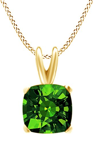 Jewel Zone US Cushion Cut Simulated Green Emerald Pendant Necklace in 14k Gold Over Sterling Silver(1.5 Ct)