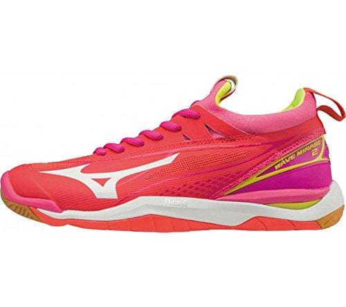 Mizuno - Zapatillas de Balonmano de Cuero para Mujer Rosa Fiery Coral/Safety Yellow/Pink GLO 43 EU: Amazon.es: Zapatos y complementos