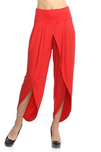 Ladybug Women's Layered Wide Leg Flowy Cropped Palazzo Pants, 3/4 Length High Waist Palazzo Wide Legs Capri Pants (Medium, 1069-Red) ()