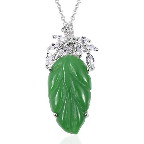 - Chain Pendant Necklace 925 Sterling Silver Green Jade White Topaz Gift Jewelry Size 18