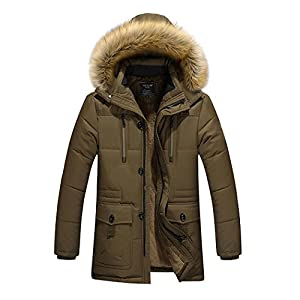 Modern Fantasy Mens Hooded Parkas Warm Polyester Fleece More Pocket Jacket Size XS Coffe