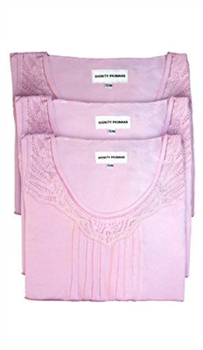 DIGNITY PAJAMAS 3-Pack Womens Cotton Cap Sleeve Adaptive Open Back Patient Nightgown with Lace Trim - Pink (S/M)