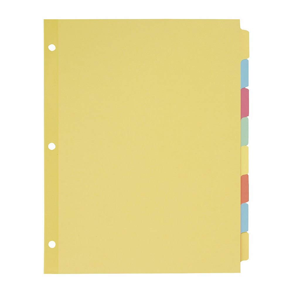 Avery 11509 Write & Erase Plain-Tab Paper Dividers, 8-Tab, Letter, Multicolor (Box of 24 Sets) by AVERY