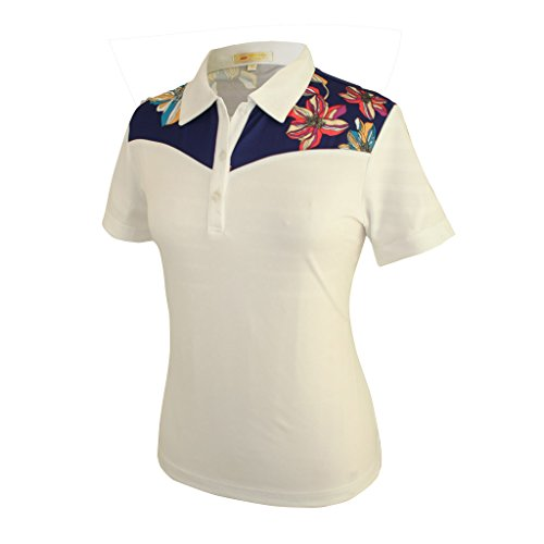 (Monterey Club Ladies Dry Swing Hi- Low Peony Contrast Shirt #2333 (White/Navy, Large))
