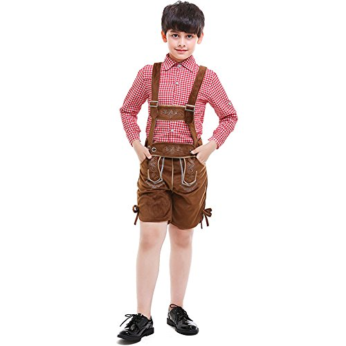 LOLANTA Oktoberfest Costume Bavarian Boys Uniform Lederhosen Shorts+Suspenders Shirt -