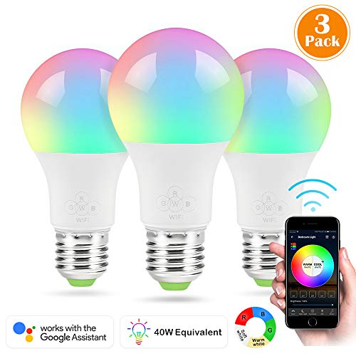 Nexlux LED Smart Bulb, 3 Pack Sunrise Wake-Up WiFi Lights,Cellphone Control Color Tunable Soft,Cool White,RGB Led Light Bulb 4.5W(40W Equivalent), Compatible with Alexa and Google Assistant