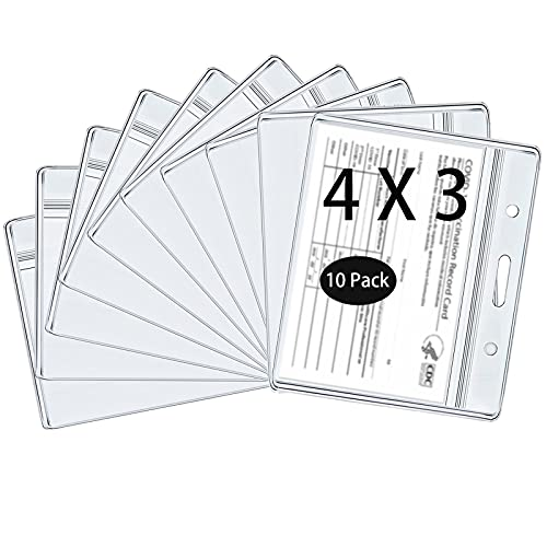 10 Pack Vaccination Card Holder, Vaccination Card Protector,4 X 3 Inches Record Vaccine Cards Holder, Clear Vinyl Plastic Sleeve immunization Cardwith Waterproof Type Resealable Zip (10)