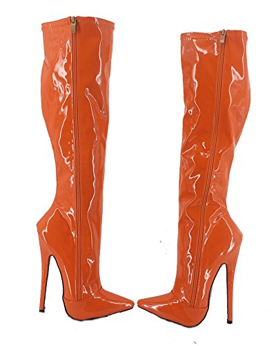Aguzza Pattini Punta Verniciata Stivali Tacco Donna Arancione Gli Sexy Stiletto 7 Wonderheel Ginocchio cqWIPBOn6