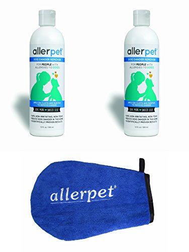 2 Pack Allerpet Dog Dander Remover, 12oz Bottle + Bonus Pet Mitt Applicator to Easily Apply Solution to Your Pet - Scientifically Proven for Effective Dog Allergy Relief - Proudly USA Made