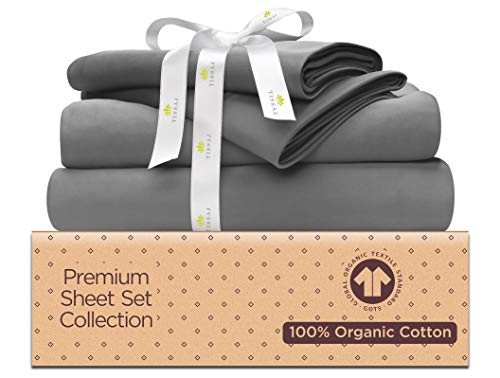 (500-Thread-Count Organic Cotton Bed Sheets-Set - 500TC California King Size Gray - 4 Piece Bedding - 100% GOTS Certified Extra Long Staple, Soft Sateen Weave Bedsheets - Fits 15