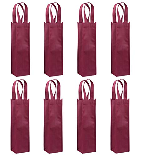 Non-Woven Wine Bag, Sdootjewelry 24 Pack Single Bottle Wine Tote Bag Holder, Reusable Wine Gift Bags for Party, Wedding, Birthday-Dark Red (Bottle Single Red)