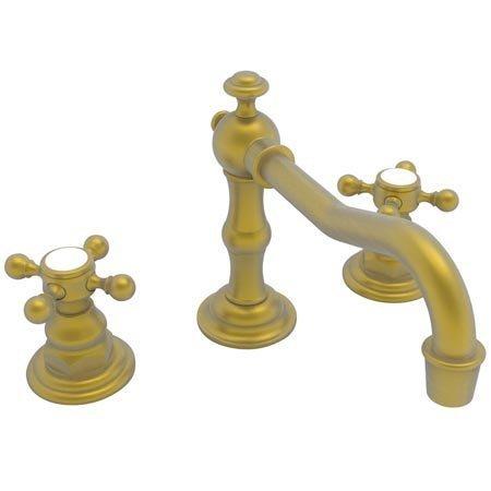 Newport Brass 930/10 Chesterfield Double Handle Widespread Lavatory Faucet with Metal Cross Handles (, Satin Bronze (930 Handle Brass Double)