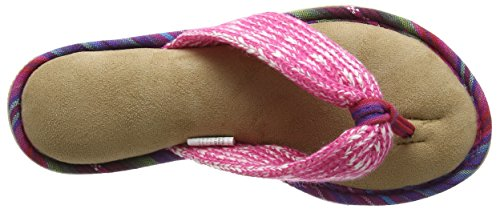 Dearfoams Damen Thong Pantoffeln Black (Wild Rose)