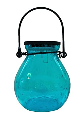 Allsop Home and Garden Solar Bubble Glass Lantern, Handblown Glass with Solar Panel and LED Light, Weather-Resistant for Outdoor Deck, Patio, Garden, Wedding, (Turquoise, - Allsop Led Solar Lantern