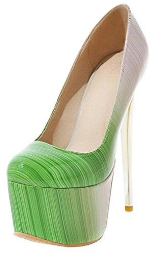 Idifu Donna Elegante Gradiente Spikes Tacchi A Spillo Low Top Slip On Pumps Scarpe Club Con Piattaforma Verde