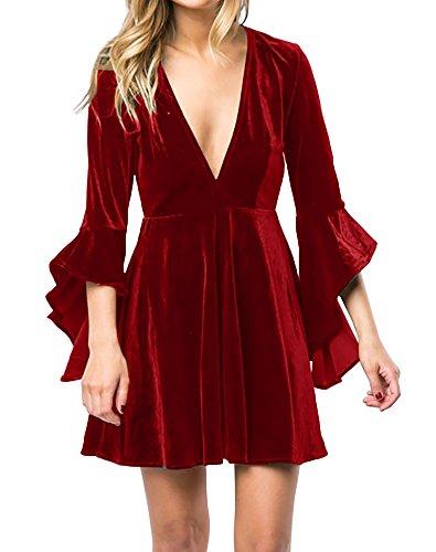 Velvet Dress (Womens Fall Velvet Plunge Party Dresses Flare Long Sleeve V Neck Elegant Swing A Line Midi Dress Christmas Red XLarge)