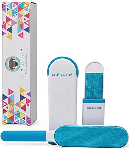 Lint Remover-Pet Hair Remover Brush by Step Per Step,with Self-Cleaning Base it is aDouble Sided Brush that removes easly Dog/Cat Fur from Carpet,Furniture,Clothing and Car Seats