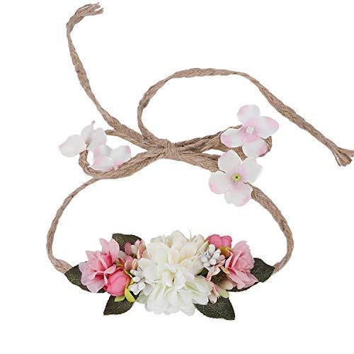 Bridal Bohemian Style Rose Flower Crown Headband Quality Wreath Women Hair Accessories Beach Garlands Headdress,32E]()