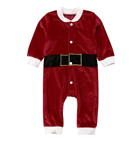 rechange Newborn Infant Boy Girl Santa Suit Baby Santa Claus Costume Christmas Onesie Romper Xmas Outfit Clothes (0-3 Months) -