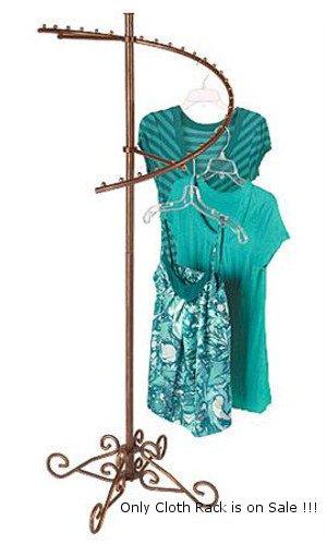 Boutique Cobblestone Spiral Design Clothing Garment Floor Racks with Flat Caps by Garment Floor Rack