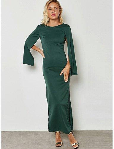 Color de falda SHUAIGUO Espalda Vaina Bodycon Chic Maxi Corte al Calle Aire Mujer xxl Vestido Sofisticado Recto de Un vacaciones Separado BUSSwq