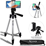 "Acuvar 50"" Inch Aluminum Camera Tripod with Quick Release + Universal Smartphone Mount for iPhone 11 Pro, 11 Pro Max, Xs, SE 2, Xr, X, 8, 8+, Pixel 3, XL, Android Note 10, S10, S20 & More Smartphones"