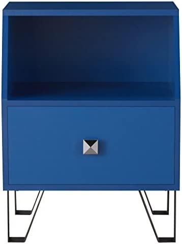 Furniture of America Persephone Modern End Table with Single Storage Drawer and Open Shelf, Navy