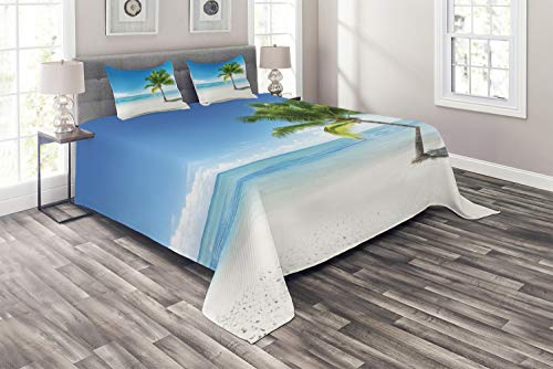 Ambesonne Landscape Coverlet Set King Size, Caribbean Maldives Beach Island Sea Ocean Palm Trees Artwork Print, 3 Piece Decorative Quilted Bedspread Set with 2 Pillow Shams, Sky Blue Green and White