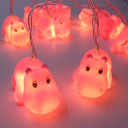 Circle Circle 1.5M 10 Lights Battery Powered Cute Animal Pink Hippo Shape LED String Lights for Indoor/Outdoor Halloween Christmas Thanksgiving Home Party Children Kids Bedroom Decoration