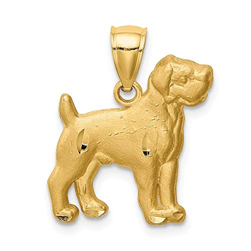 14k Yellow Gold Boxer Pendant Charm Necklace Animal Dog Fine Jewelry Gifts For Women For Her