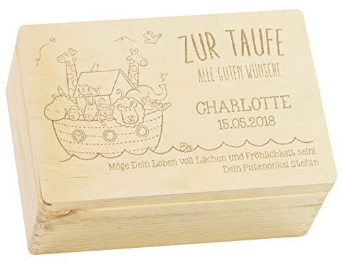 LAUBLUST Holzkiste mit Gravur - Personalisiert mit NAME | DATUM | WIDMUNG - Natur Größe M - Arche Noah Motiv - Geschenkkiste zur Taufe
