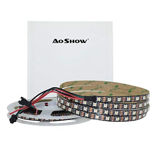 Aoshow Individually Addressable 60LEDs/M Smart SK6812 RGBW LED Pixel Strip DC5V 4 Color in 1 Mixed Colour RGB+White 6000K 16.4FT 300LEDs 5M SPI/DVI Signal (6812RGBW 60LEDs IP20(Black PCB))