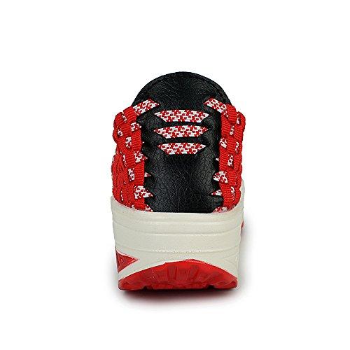 Enllerviid Kvinnor Multi Fläta Mode Sneakers Vardaglig Slip-on Plattform Väva Skor 355 Röd