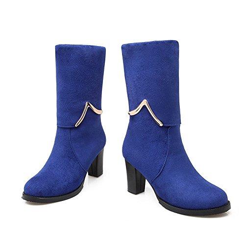AllhqFashion Mujeres Caña Media Sólido Puntera Redonda Tacón Grueso Botas con Ornamento Metal Azul