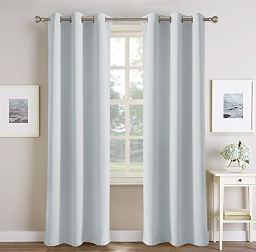 PONY DANCE White Window Curtains - Grommets Top Thermal Insulated Light Blocking Thermal Curtain Panels/Window Treatments for Bedroom Dining Room, 42 by 72 Inches, Greyish White, Set of 2