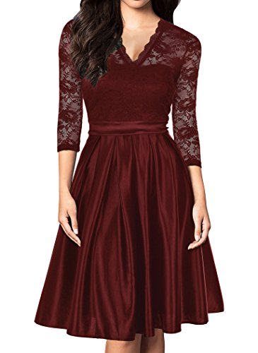 Mmondschein Women Vintage 1930s Style 3/4 Sleeve Black Lace A-line Party Dress DarkRed S