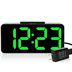 ZHPUAT 8.9 Big Screen Digital Alarm Clock with Dimmer and Alarm Sound Control Function (Green)
