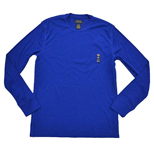 - Polo Ralph Lauren Mens Bear Logo Thermal T-Shirt (L, Blue)